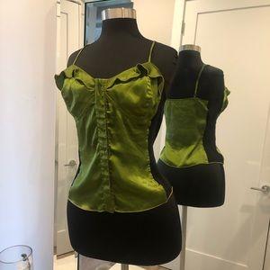 BCBG Green Black ruffle corset cami top